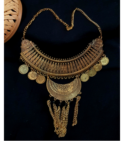 Bella Afghani Oxidized Golden Tone Coin Chain Necklace