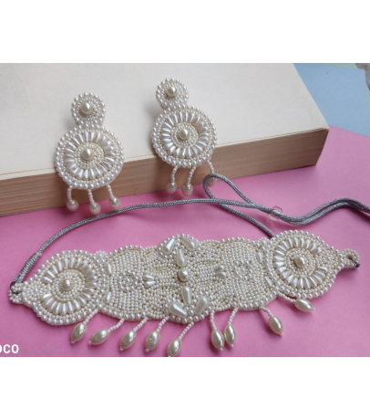 Bella Handcrafted Long White Beaded Necklace With Earrings