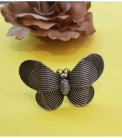 Butterfly Oxidized Brass Adjustable Ring