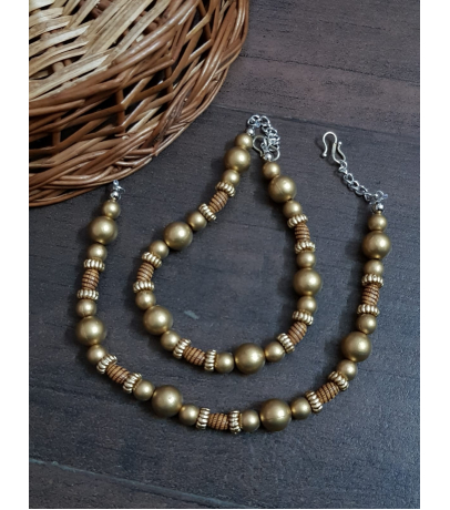 Charming Oxidized Multi Brown Beads Anklets