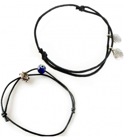 Combo Of 2 Black Thread Charm Anklets