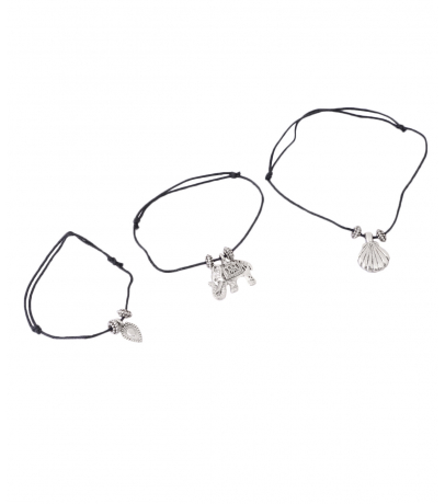 Combo Two Of 3 Black Thread Charm Anklets