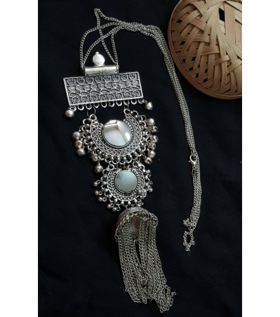 Decus Afghani Oxidized Speculum Chain Necklace