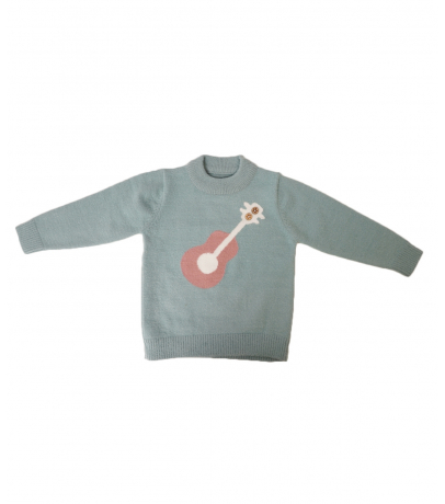 Detailed Guitar Print Super Soft Cyan Color Sweater
