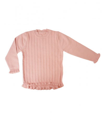 Detailed Neck Solid Pink Full Sleeves Self Design Sweater