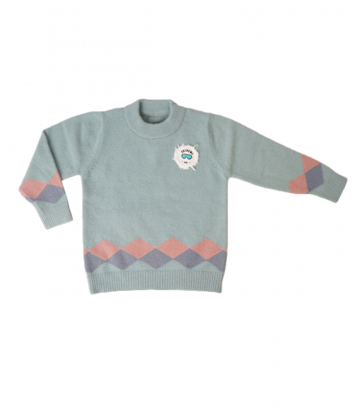 Detailed Super Soft Cyan Color Sweater