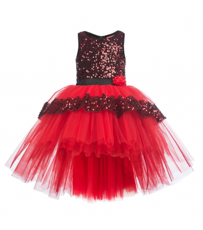 Embellished Girls Maroon N Red Layered Net Empire Dress