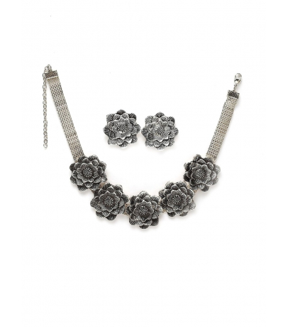 Floral Design Oxidized Choker Necklace With Stud Earrings