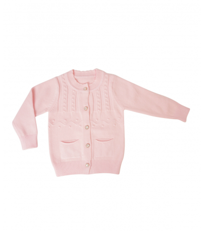 Front Open Button Detailed Pink Sweater