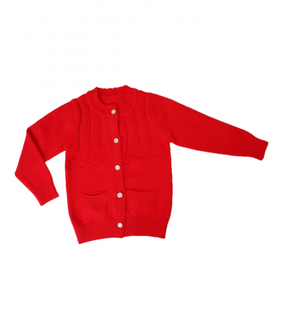 Front Open Button Detailed Red Sweater