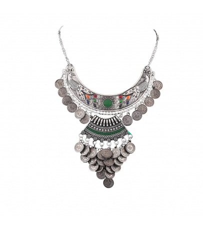 Green Meenakari Coin Cladded Oxidized Hasli Look Afghani Necklace