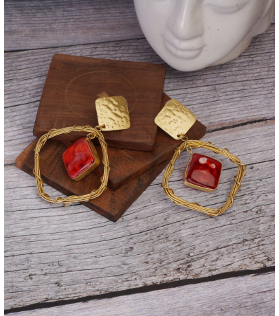 Handcrafted Decoris Geometric Red Earrings