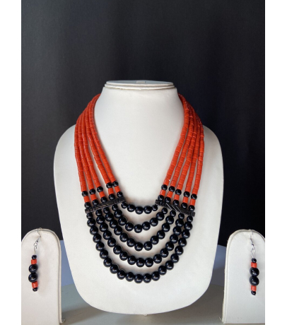 Handcrafted Tribal Black Beaded Necklace With Earrings