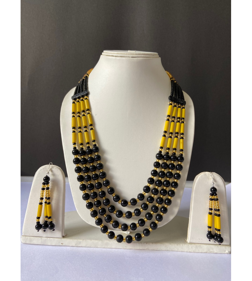 Handcrafted Tribal Black N Yellow Beaded Necklace With Earrings