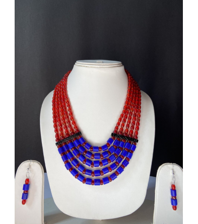 Handcrafted Tribal Blue N Red Beaded Necklace With Earrings