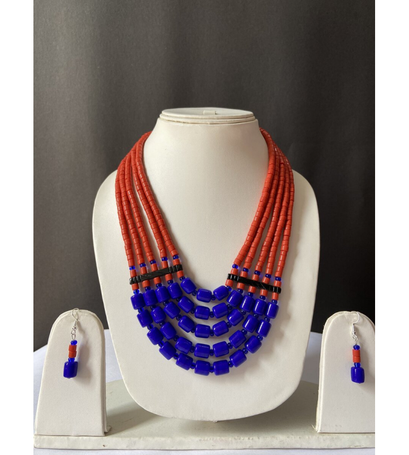 Handcrafted Tribal Blue N Rust Beaded Necklace With Earrings