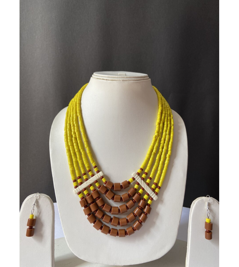 Handcrafted Tribal Yellow N Brown Beaded Necklace With Earrings