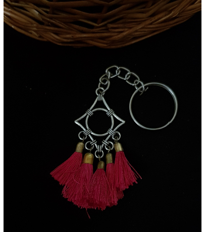 Handmade Oxidized Abstract Design with Pink Tassels Keychain