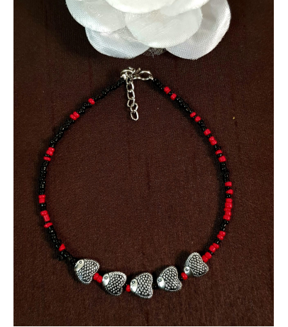 Hearty Fish Charm Single Beaded Anklets