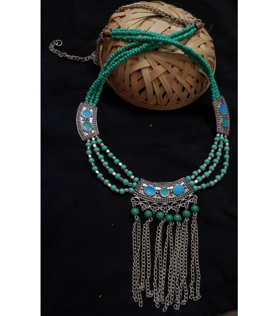 Innate Afghani Oxidized Trendy Turquoise Necklace