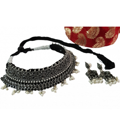 Jaipuri Handcrafted Black Stone Studded Pearl Drop Necklace with Earri...