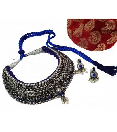 Jaipuri Handcrafted Blue Stone Studded Necklace with Earrings