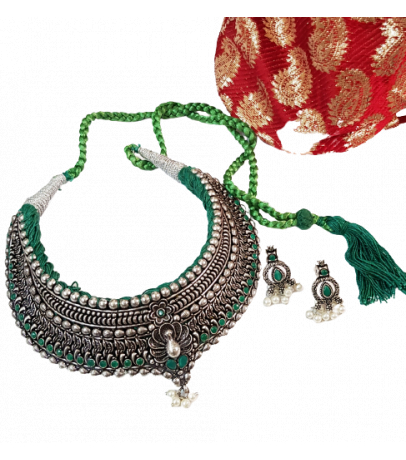 Jaipuri Handcrafted Green Stone Studded Necklace with Earrings
