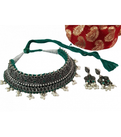 Jaipuri Handcrafted Green Stone Studded Pearl Drop Necklace with Earri...