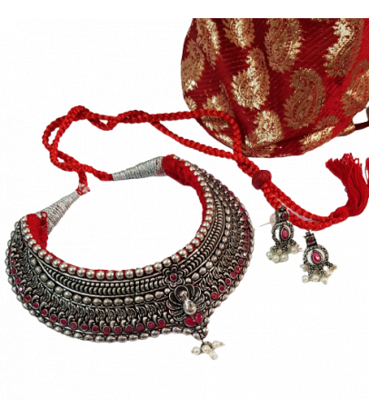 Jaipuri Handcrafted Maroon Stone Studded Necklace with Earrings