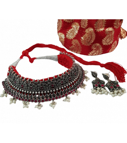 Jaipuri Handcrafted Maroon Stone Studded Pearl Drop Necklace with Earr...
