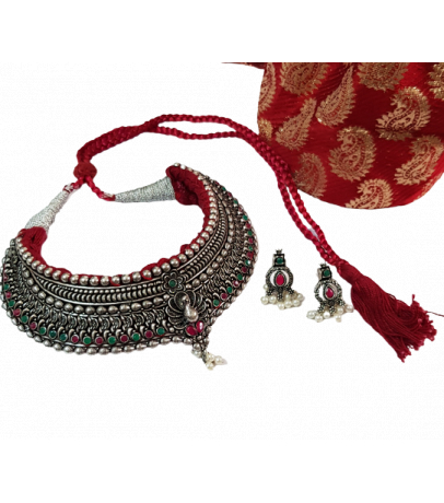 Jaipuri Handcrafted Multicolor Stone Studded Necklace with Earrings