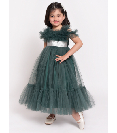 Jelly Jones Short Sleeves Solid Color Fit & Flare Netted Dress - Green
