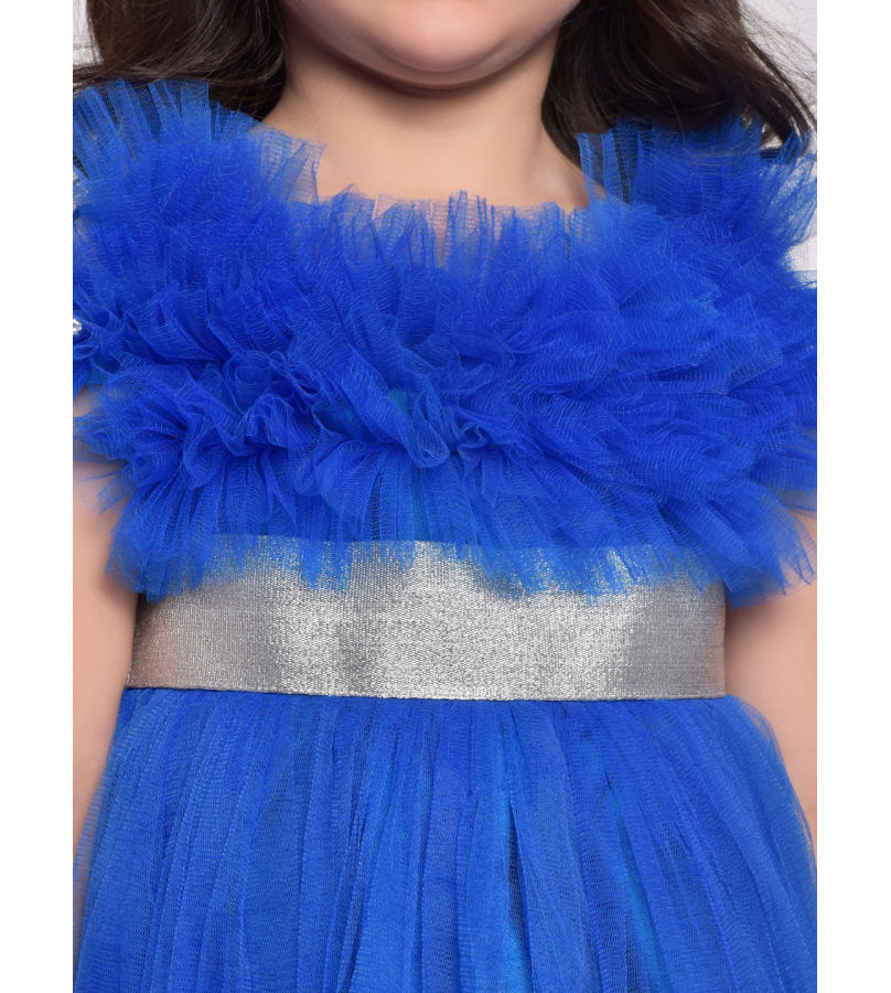 Jelly Jones Short Sleeves Solid Color Fit & Flare Netted Dress - Royal Blue