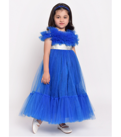 Jelly Jones Short Sleeves Solid Color Fit & Flare Netted Dress - Royal...