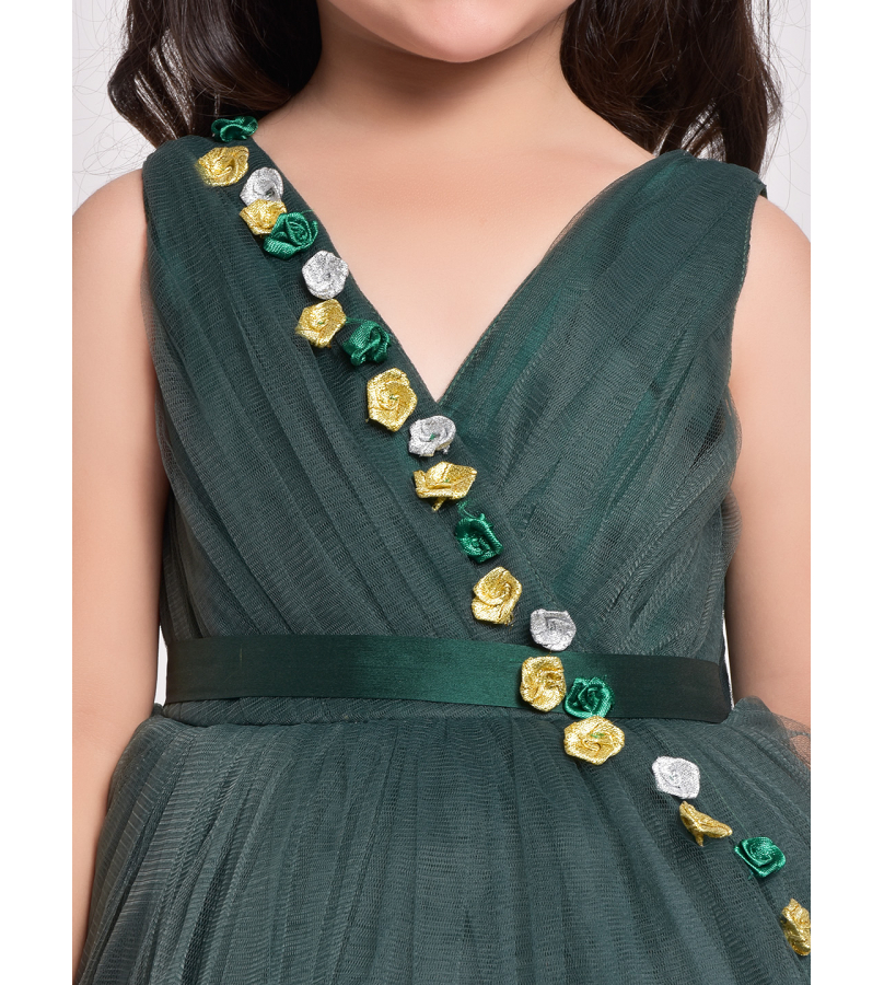 Jelly Jones Sleeveless Flower Embellished Layered Tulle Gown -Green