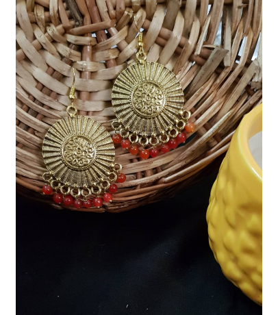 Lassie Oxidized Golden Earrings With Red Beads