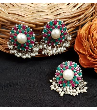 Luviḥ Pink N Green Stone Studded Pearl Drops Earrings N Ring Combo
