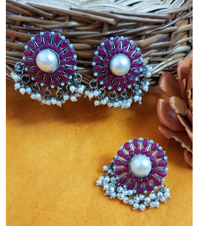 Luviḥ Pink Stone Studded Pearl Drops Earrings N Ring Combo