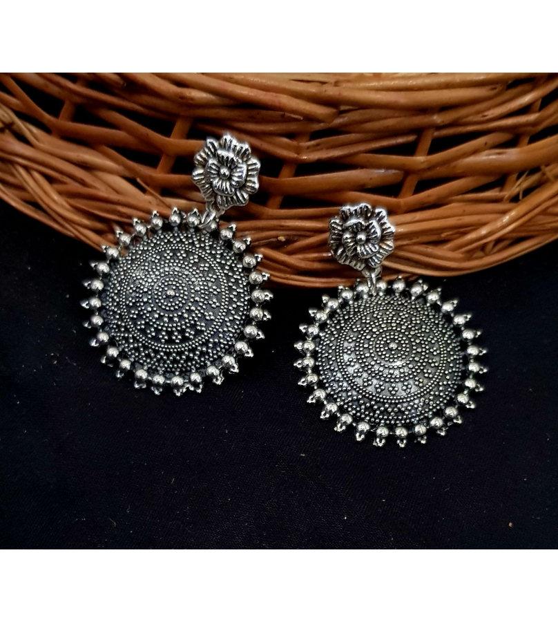 Marvelous Floral Engraved Oxidized Earrings