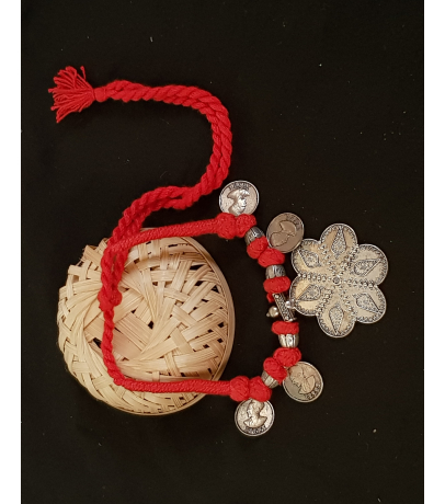 Mogra Oxidized Tribal Coin Red Thread Necklace