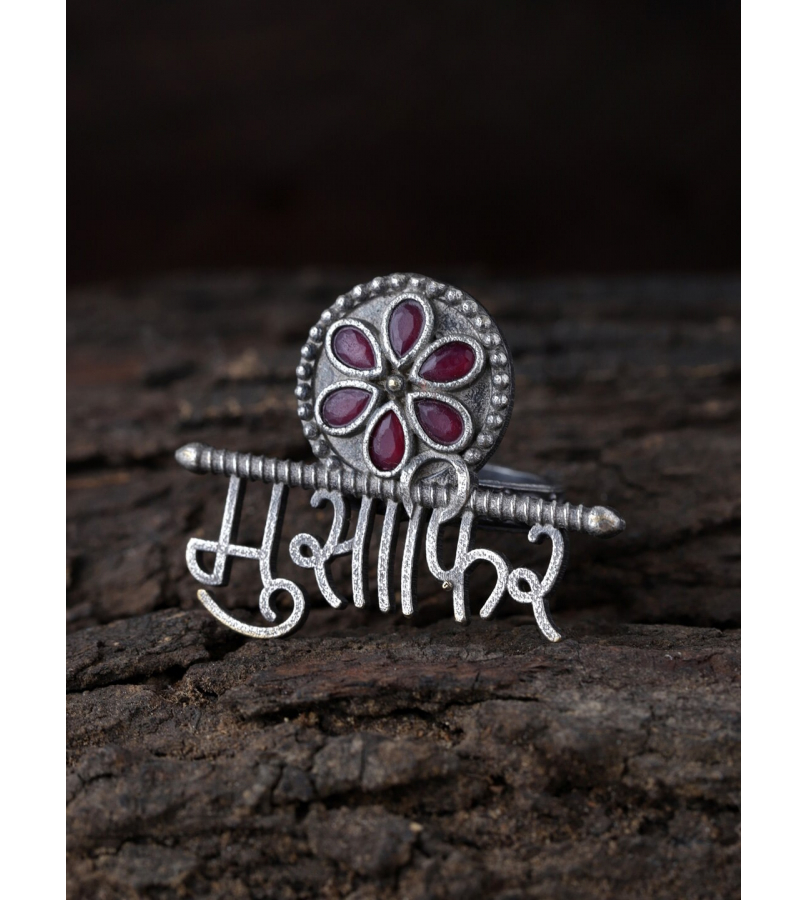 Musafir Red Stone Studded Adjustable Ring