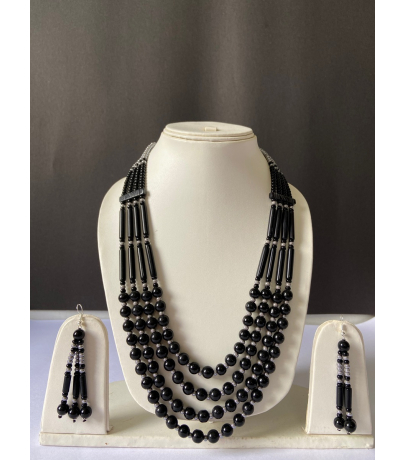 Naga Tribal Black Beaded Necklace With Earrings