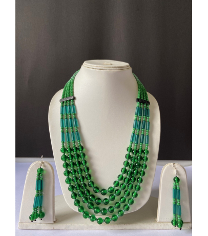 Naga Tribal Green Beaded Necklace With Earrings