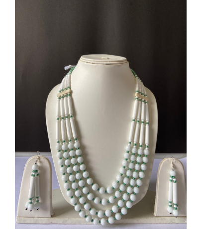 Naga Tribal White Beaded Necklace With Earrings