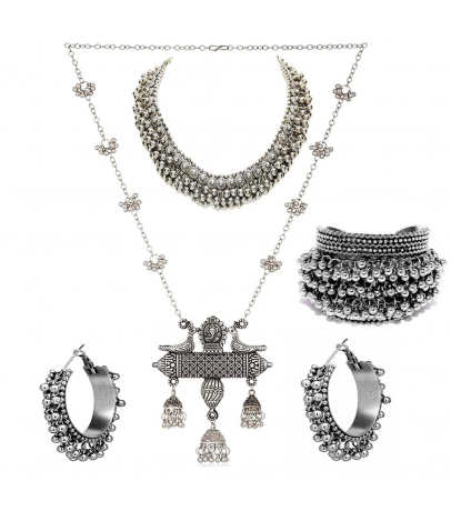 Oxidized Combo Set With Ghungroo Choker Set, Bracelet And Alluring Lon...