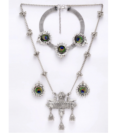 Oxidized Combo Set With Peacock Choker N Long Pendant Necklace And Stu...