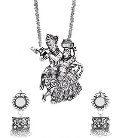 Oxidized Combo Set With Radha Krishan Necklace And Earrings