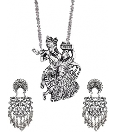 Oxidized Combo Set With Radha Krishan Necklace And Pearl Drop Earrings