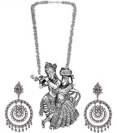 Oxidized Combo Set With Radha Krishan Necklace And Stone Studded Loop ...