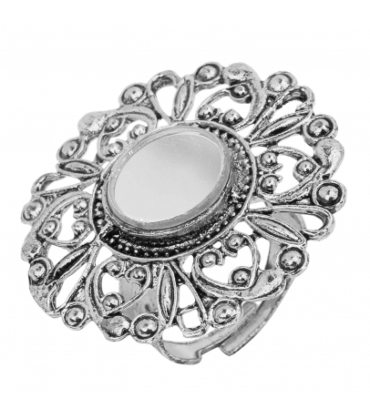 Oxidized Floral Mirror Adjustable Ring